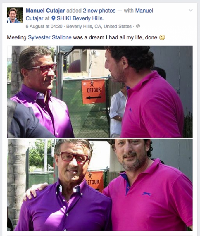 Maltese actor Manuel Cutajar posted a photo of himself with the Rambo actor