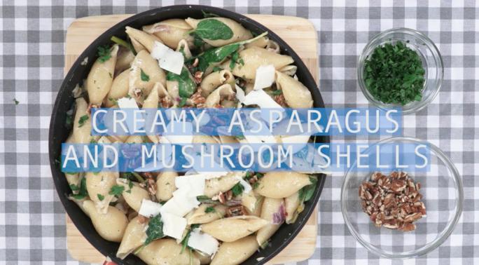 Creamy asparagus and mushroom shells