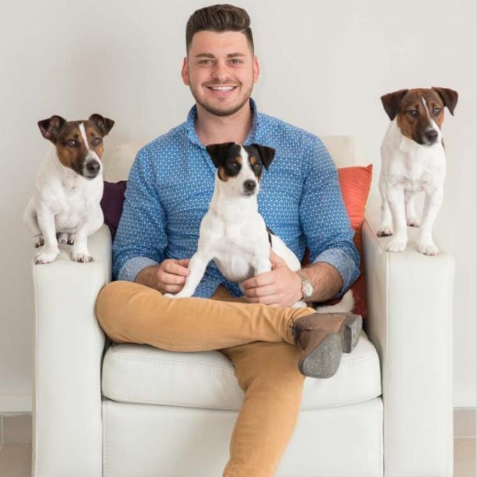 Yobetit CEO Nikolai Livori with his three living mascots