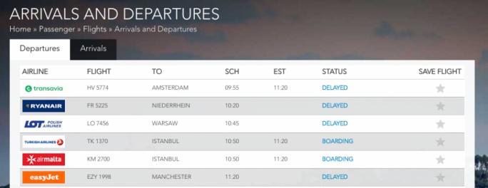 Delayed flights announcement, according to Malta International Airpiort
