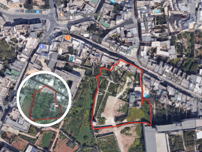 The site in 2002 (inset) as it was when the illegal works started in Balzan