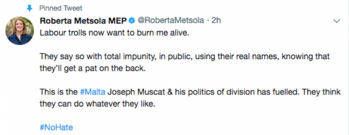 In a Twitter post, Metsola said Labour trolls could make such comments with impunity