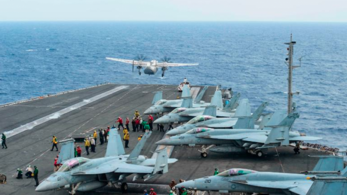 A C-2A Greyhound plane launches from the USS Ronald Reagan during a 2017 exercise