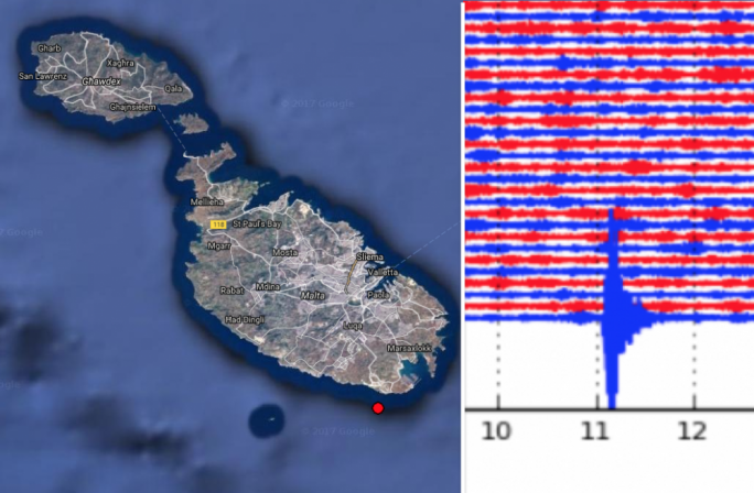 University of Malta's seismology department recorded the tremor on its Wied Dalam observatory