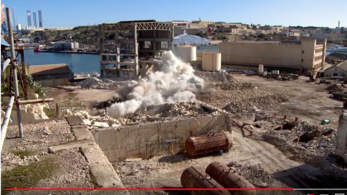Marsa power station chimneys came crashing down