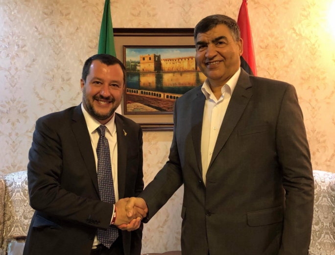 Italy's Matteo Salvini (left) tweeted a photo of his meeting with Libyan counterpart Abdulsalam Ashour