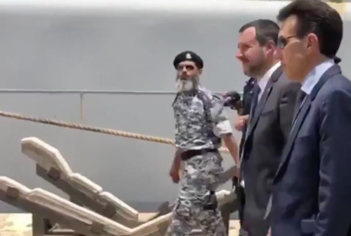 Matteo Salvini visiting the Italian military personnel in Tripoli who are training the Libyan coastguard