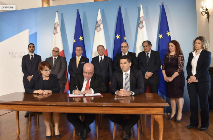 The 2017 public sector collective agreement being signed by Mario Cutajar, the head of the civil service. The MEA claims collective bargaining in the public sector was having negative repercussions on the private sector
