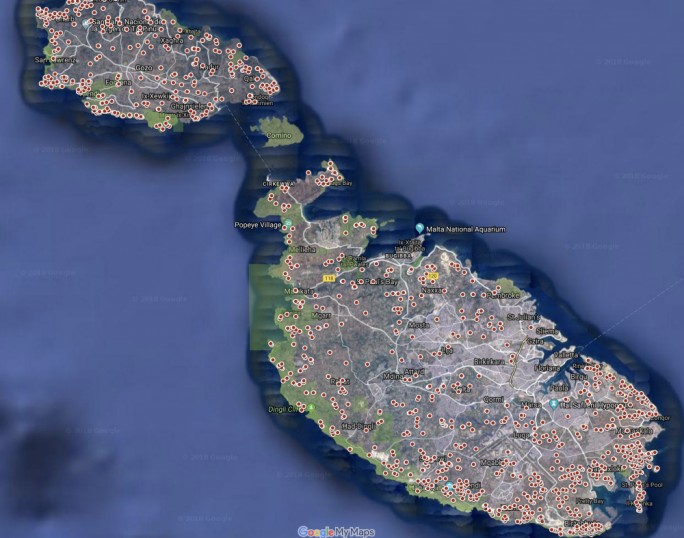 Over 1,800 bird trapping sites have been tracked on a Google map of Malta
