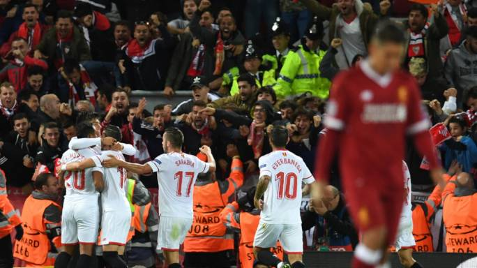 Joaquin Correa celebrating with teammates after scoring the equalising goal for Sevilla