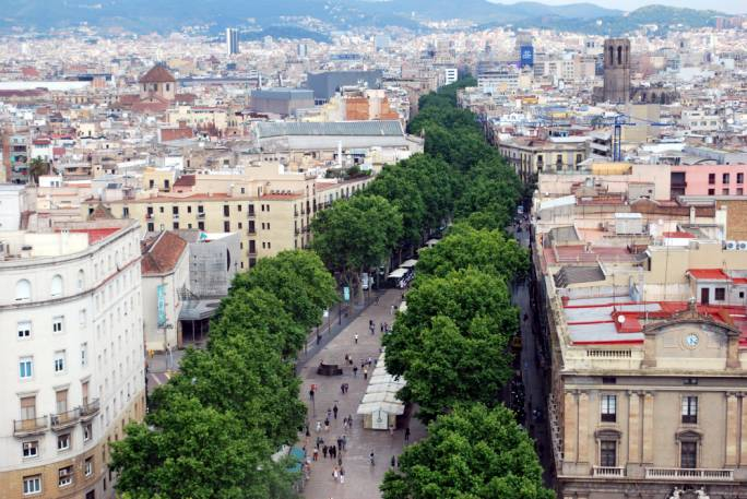 The promenades of Las Ramblas run all the way from the Placa de Catalunya all the way to the Colombus Monument at the waterfront