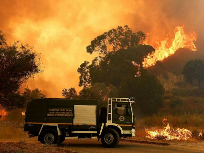 Wildfires have spread across southern Europe, including Sicily, over the last month