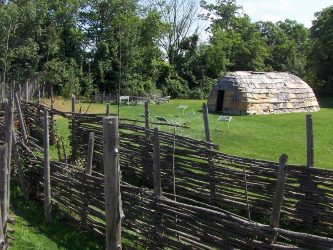 The Museum of Ontario Archaeology features a life-sized replica of an aboriginal village