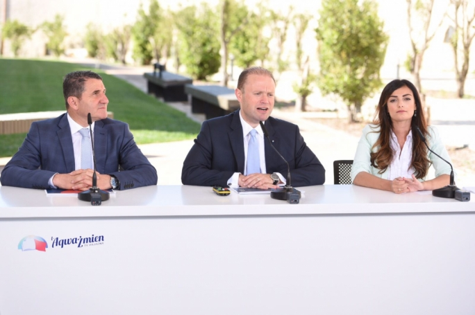 Prime Minister and Labour Party leader Joseph Muscat addresses pa press conference with PL MP Silvio Parnis and candidate Rosianne Cutajar