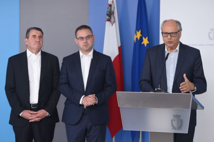Edward Scicluna (right) with Owen Bonnici and Silvio Parnis. Photo: James Bianchi/MediaToday