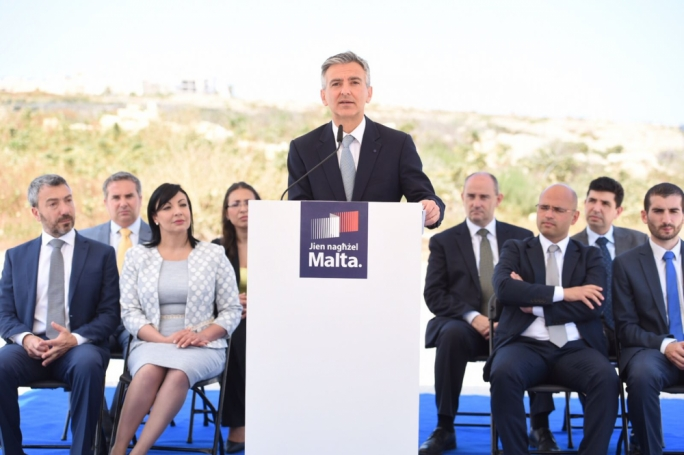 Simon Busuttil launches the PN's environment proposals at Zonqor Point. Photo: James Bianchi/MediaToday