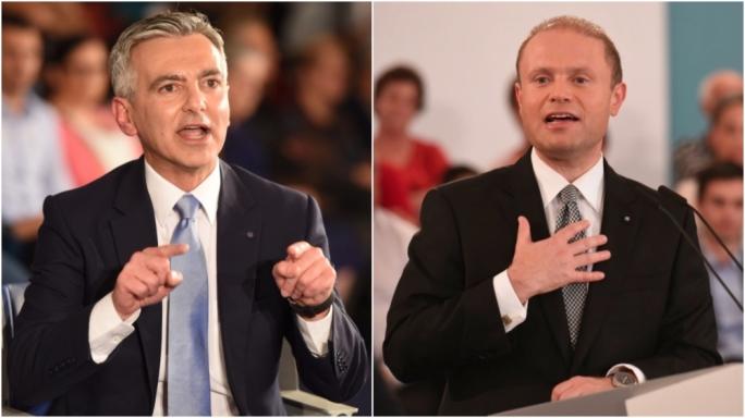 Nationalist Party leader Simon Busuttil (L) and Labour Party leader Joseph Muscat