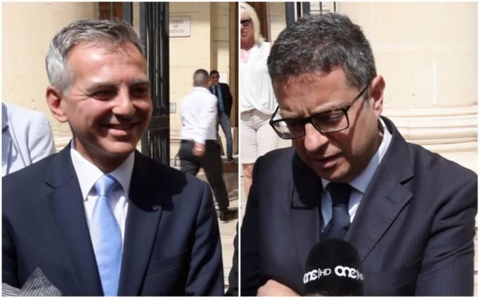 Simon Busuttil (L) and Adrian Delia