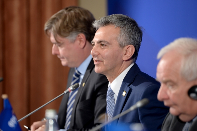 The press conference was addressed by PN leader Simon Busuttil, together with EPP President Joseph Daul and EPP Secretary General Antonio López-Istúriz. (Photo: James Bianchi/MediaToday)