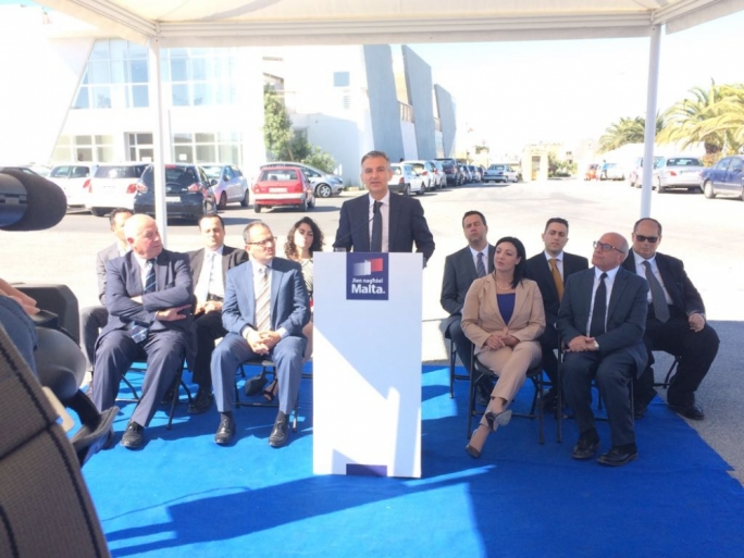 Nationalist Party leader Simon Busuttil addresses a press conference in front of Gozo General Hospital
