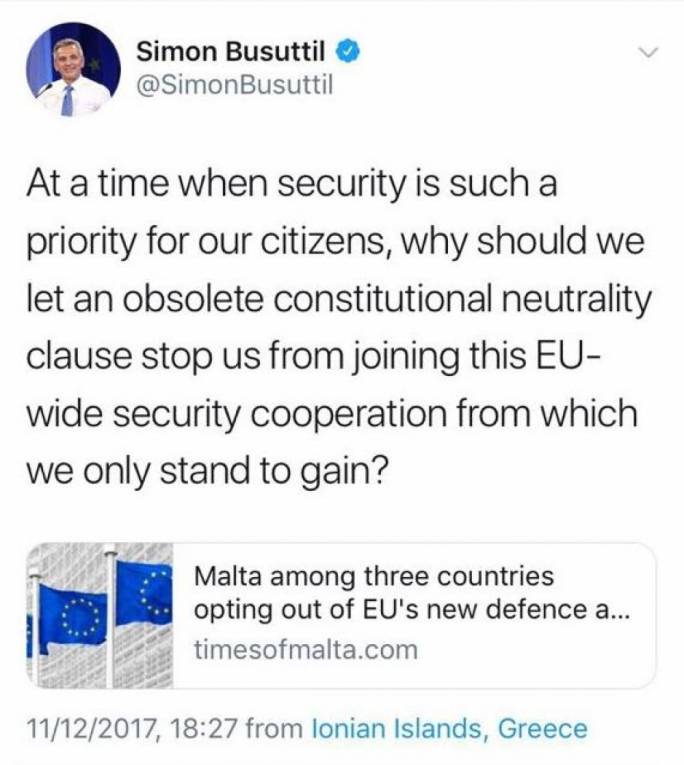Simon Busuttil tweeted his views in favour of the defence programme