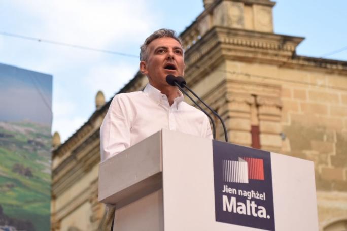 PN leader Simon Busuttil addresses a mass meeting in Rabat, Gozo. Photo: James Bianchi