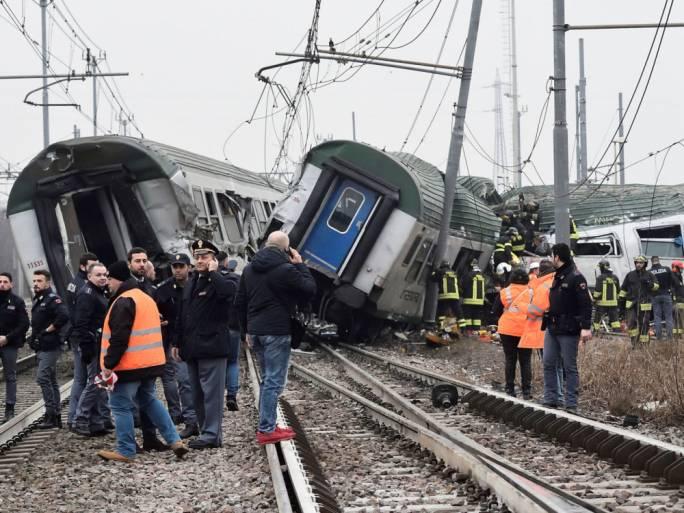Italy train crash: Two killed near Milan