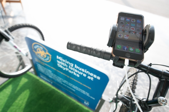 Charging your mobile phone using the bike's docking station