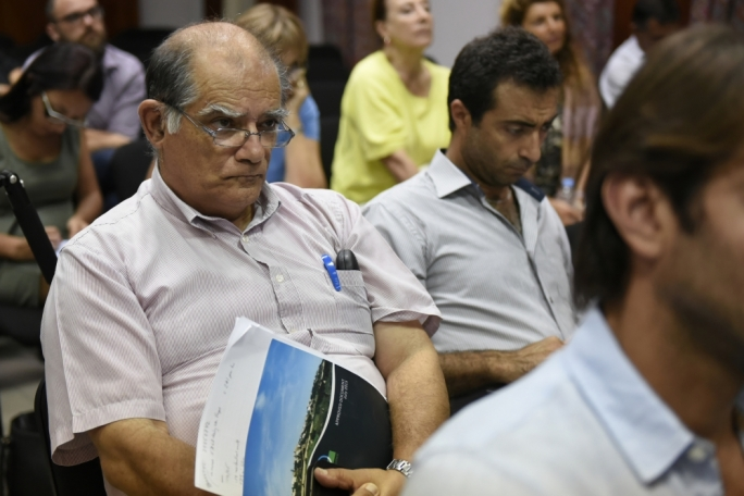 Carmel Cacopardo (left) at a Planning Authority meeting