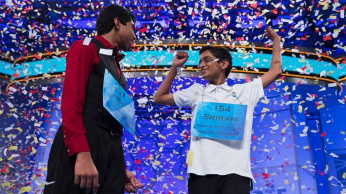The 87th Scripps National Spelling Bee, which is held in the USA: in 2014 it crowned two co-champions, the first time since 1962