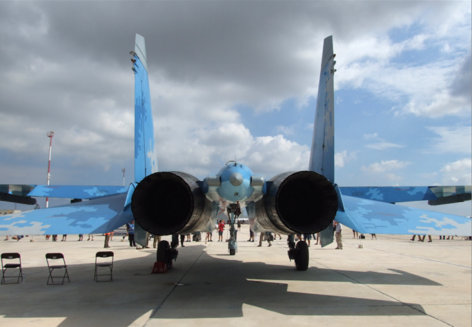 Rear view of the Su-27 Flanker of the Ukraine Air Force