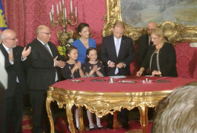 Joseph Muscat taking his oath as Prime Minister for a second consecutive term in office