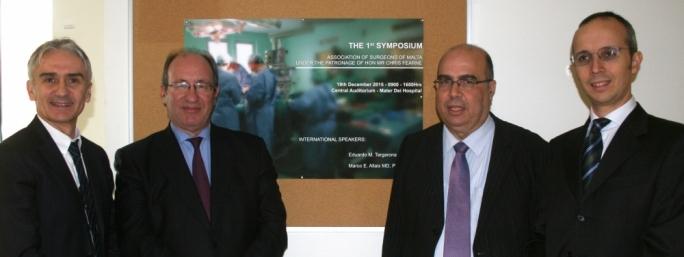 L-R: Mr Predrag Andrejevic, Professor Eduardo Targarona, Mr Joseph Galea and Dr Marco Ettore Allaix