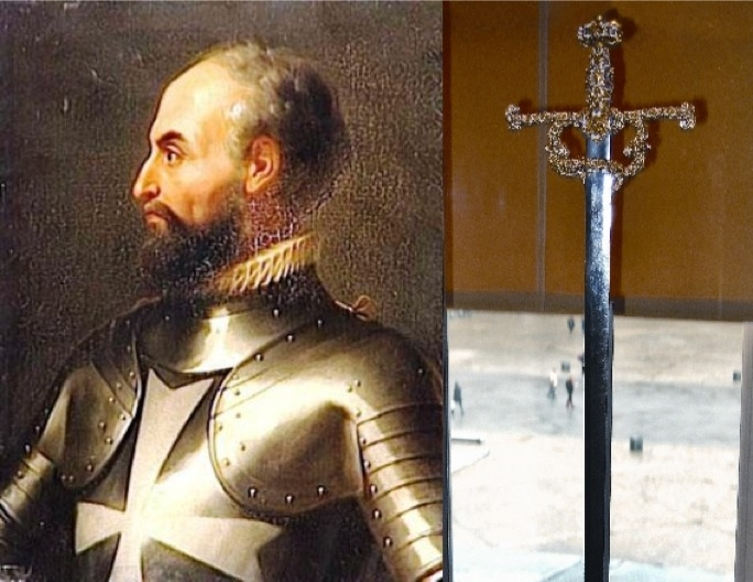 La Valette's sword, on display at the Louvre, Paris. The sword was among the treasures taken by Napoleon Bonaparte from Malta in 1798