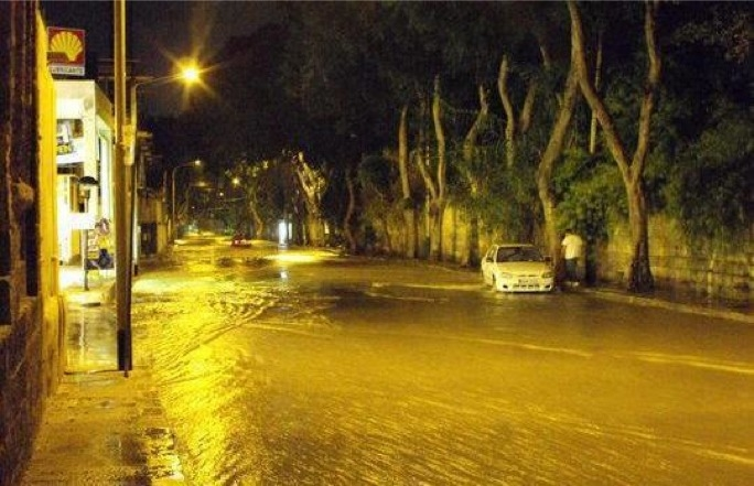 A flooded Valley Road in Msida after this evening's storm. PHOTO: Dario Gerada