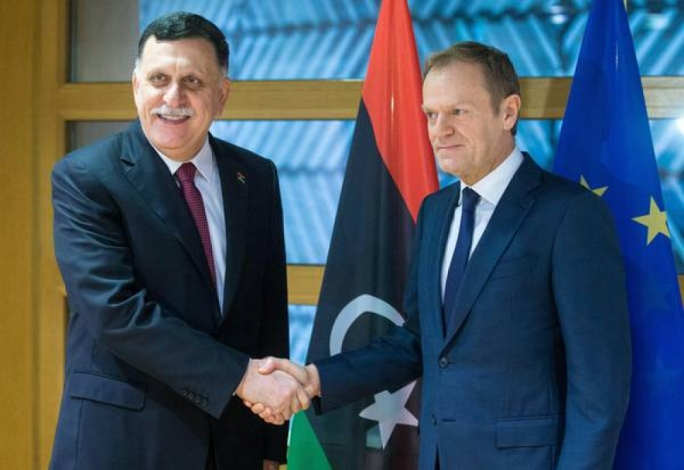 Fayez Al-Serraj and Donald Tusk