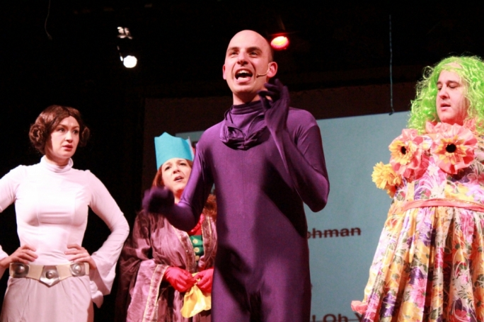 Chris Dingli (centre), Colin Fitz, Jo Caruana and Pia Zammit performing in last year's edition of The Comedy Knights