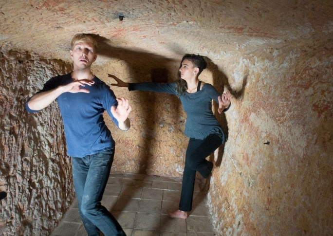 Dancers Clara Agius and Lukas Orphéo Schneider at the evocative and intimate venue for Inwardly Silent – the WWII Shelter at the Wignacourt Museum in Rabat