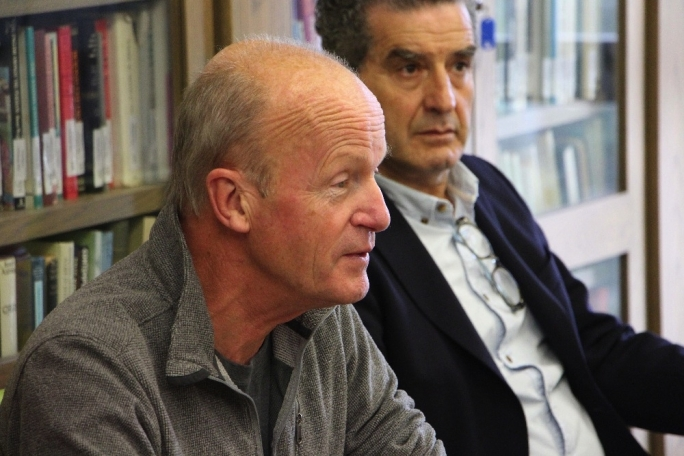"Jim Crace: ""Ultimately the real reason why I returned to writing was simple: it's just too much fun not to do it"". Back: Faculty of Arts Dean Prof. Dominic Fenech. Crace will be writer in Residence at the University of Malta until December 19"