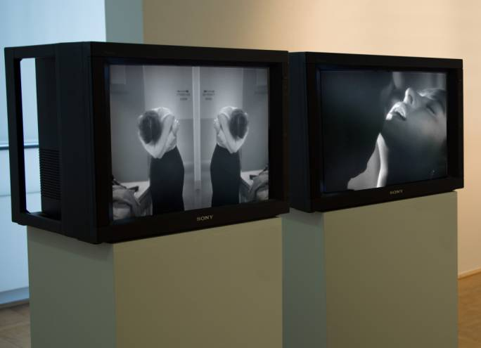 Between A Kiss And The Naked Truth dual PAL video loops, no sound, CRT monitors 2009