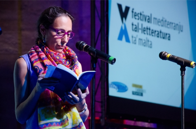 Nadia Mifsud reading from her new poetry collection at this year's edition of the Malta Mediterranean Literature Festival • Photo by Virginia Monteforte