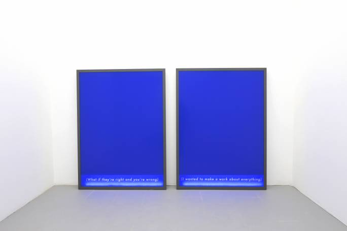 Fenêtreproject – Modular Blue II & Modular Blue III – aluminium, lasercut vinyl on plexiglass, foamboard, LED strip – 112 x 150 cm (Courtesy the artist and MCA)