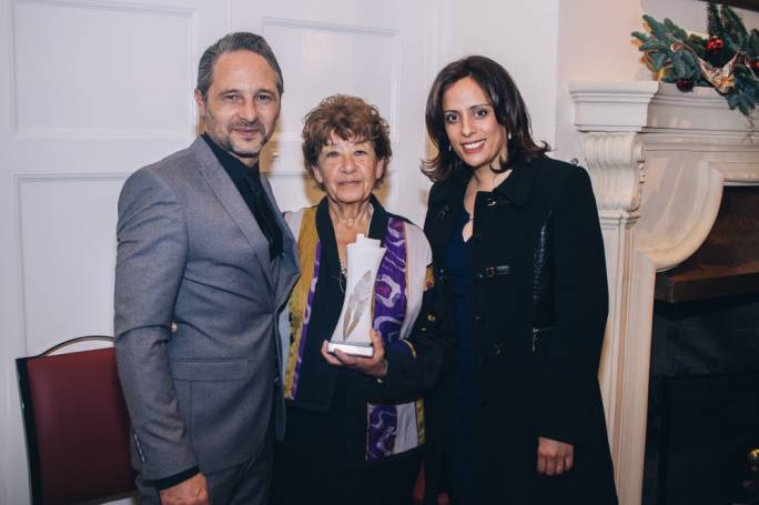 Maltese-Australian author Lou Drofenik (centre) pictured with her publisher upon winning the National Book Prize for novels published in Malta in 2016