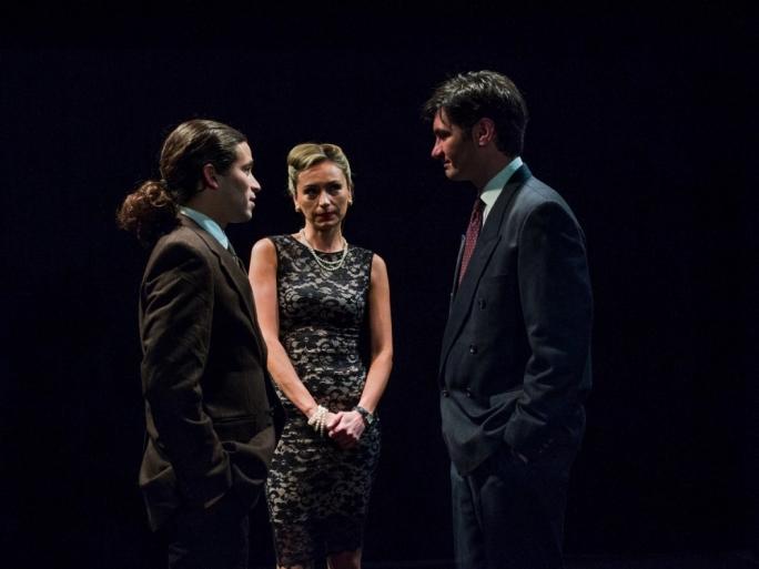 Left to right: Philip Leone-Ganado, Julia Calvert and Malcolm Galea in The Pride