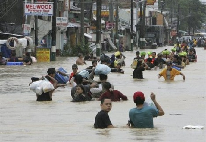Roads have been turned into rivers in the Philippines