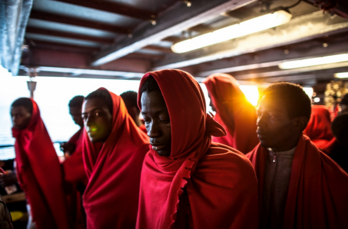Some of the rescued migrants currently on the Aquarius, which has been refused entry into both Malta and Italy (Photo: UNHCR)