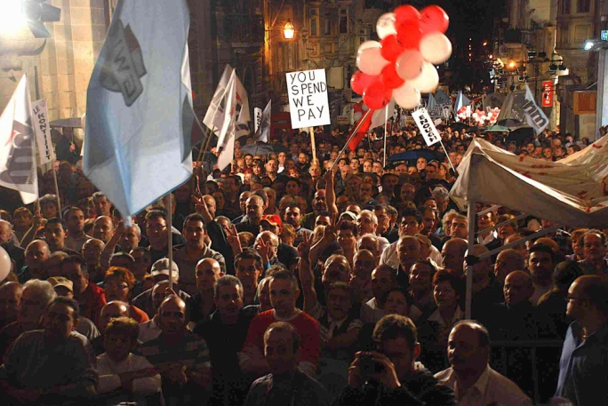 November 2008: a demonstration against higher utility bills led by all Malta's unions