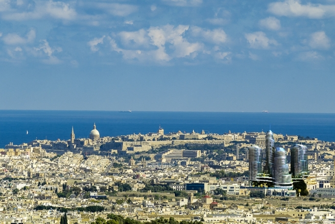 Image shows the country's skyline including the proposed high-rise towers in Mriehel