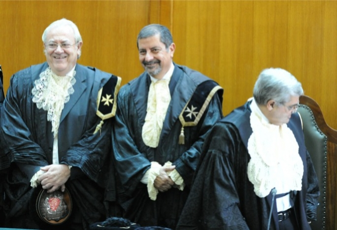 Judge Lino Farrugia Sacco (first left).