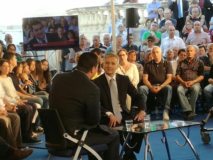 Simon Busuttil interviewed by Fabian Demicoli at a PN activity in Mgarr